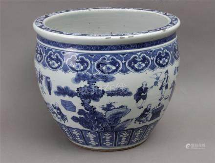 An 18th century Chinese cache pot in blue and white porcelain