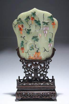 JADE TABLE SCREEN WITH FLORAL PATERN