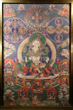 THANGKA OR PAINTING DEPICTING VAJRASATTVA WITH PROTECTORS OF