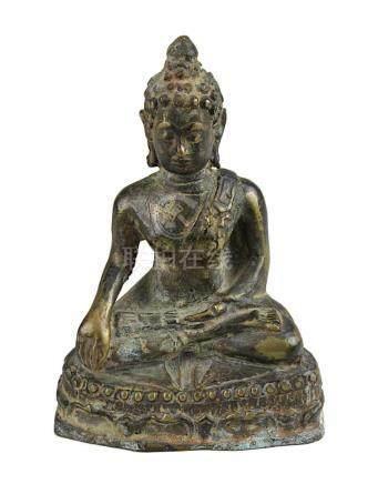 Bronze Buddha, Thailand, Mon-Dvaravati-Stil, sitzender Buddha in meditierender Haltung auf