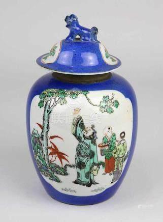 Kleiner Schultertopf, China, Kangxi-Periode (1661-1722), Porzellan weißer Scherben, handgedrehter