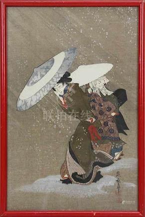 Ungedeuteter japanischer Künstler, Dame und Dienerin im Schneesturm, Farbholzschnitt, Japan um 1800,