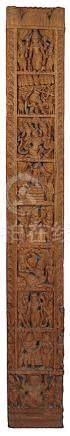 Holzrelief, Südindien 20. Jh., Teakholz, aus einem Stück geschnitzt und wohl aus größerem