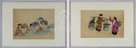 Zwei Aquarelle mit Fischern und Marktfrauen, China um 1865-70, Passepartoutausschnitt 18 x 28 bzw.