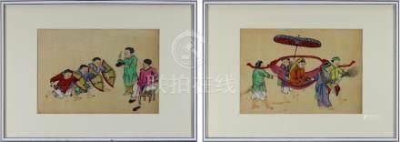 Zwei Aquarelle mit vornehmer Dame in Sänfte und jungen Soldaten beim Training, China um 1865-70,