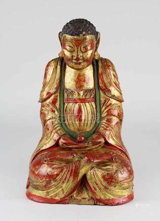 Buddha, Holz mit Lackfassung, China Quing-Zeit, sitzende Figur in Meditationshaltung mit nach obem