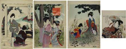 4 japanische Fabholzschnitte mit vornehmen Damen, bestehend aus 1 Holzschnitt Keisai (Ikeda Eisen,