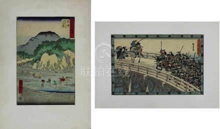 Utagawa Hiroshige (1797-1858), 2 Farbholzschnitte: Der Okitsu-Fluss am Fuße des Satta, aus der Serie