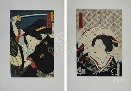 Toyohara Kunichika (1835-1900), 2 Farbholzschnitte, Portrait eines Mannes mit erhobenem Schwert,