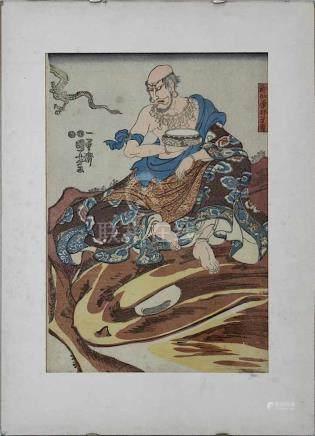 Utagawa Kuniyoshi (1798-1861), Farbholzschnitt, Der Arhat Nakasaina Sonja, auf einer Riesenkröte
