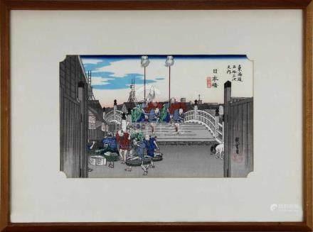 Utagawa Hiroshige (1797-1858), japanischer Farbholzschnitt, Daimyo-Prozession auf der Nihonbashi-