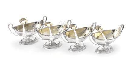 A set of four George III silver salt cellars by Paul Storr