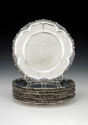 [Royal House of Hannover interest] A set of twelve German silver dinner plates from the Hardenberg s