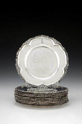 [Royal House of Hannover interest] A matched set of twelve German silver dinner plates from the Hard