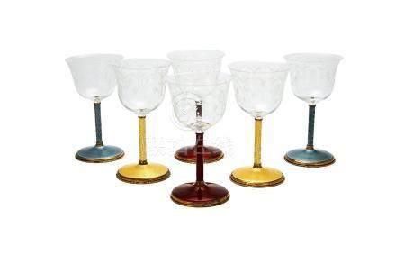 Asprey, a set of six Italian silver gilt, enamel and glass wine glasses