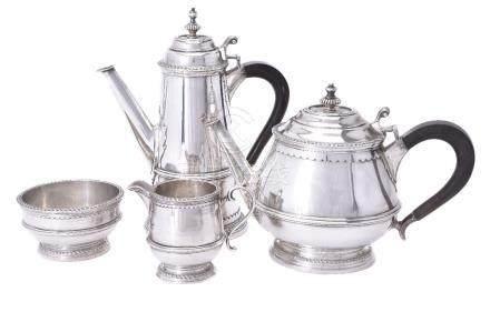 An Italian silver coloured four piece tea and coffee service by Serra Roma