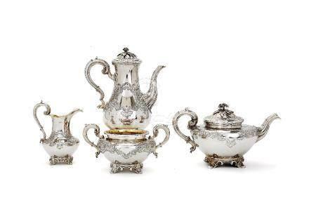 ϒ A matched early Victorian silver four piece baluster coffee and tea service