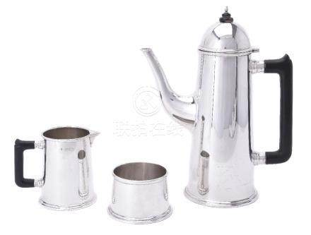 A silver plain straight-tapered three piece coffee service by Theo Fennell