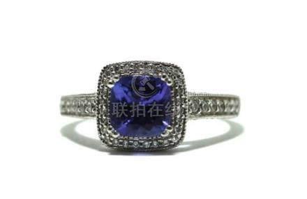 An 18ct White Gold Tanzanite & Diamond Ring,