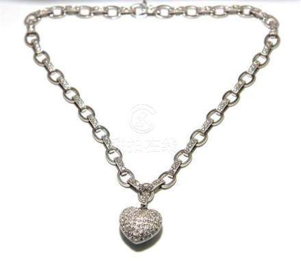 An 18ct White Gold Diamond Heart Necklace,
