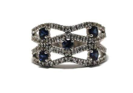 An 18ct White Gold Diamond & Sapphire Swirl Band Ring,