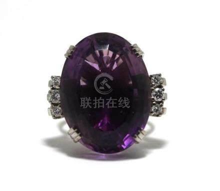 A Platinum Amethyst & Diamond Ring,