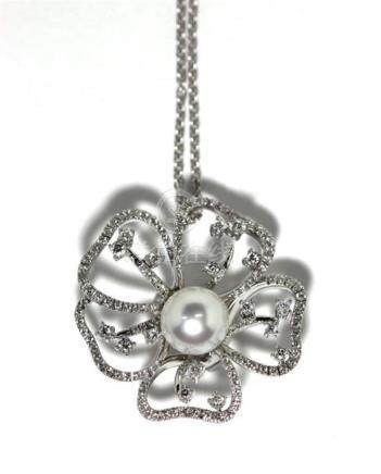A Paspaley 18ct White Gold South Sea Pearl & Diamond Flower