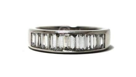 An 18ct White Gold Baguette Diamond Ring,