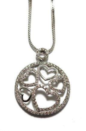 An 18ct White Gold Diamond Heart Pendant,