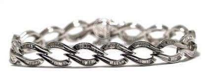 An 18ct White Gold Baguette Diamond Bracelet,