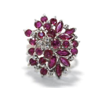 An 18ct White Gold Ruby & Diamond Cocktail Ring,