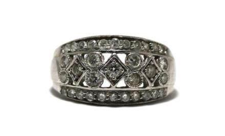 A 9ct White Gold Diamond Band Ring,
