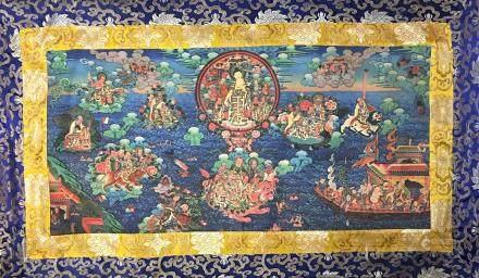 Chinese Thangka of Buddha Figures on Silk