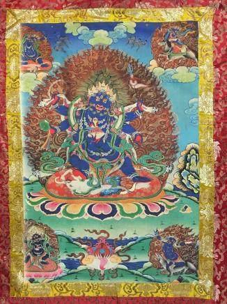Chinese Thangka of Makahala on Silk