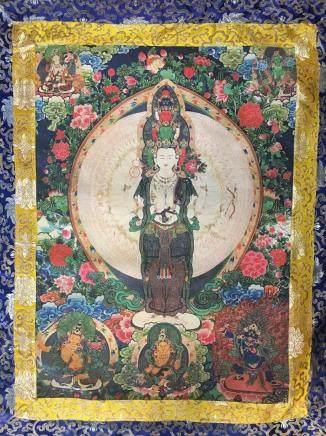 Chinese Thangka of Avalokitesvara on Silk