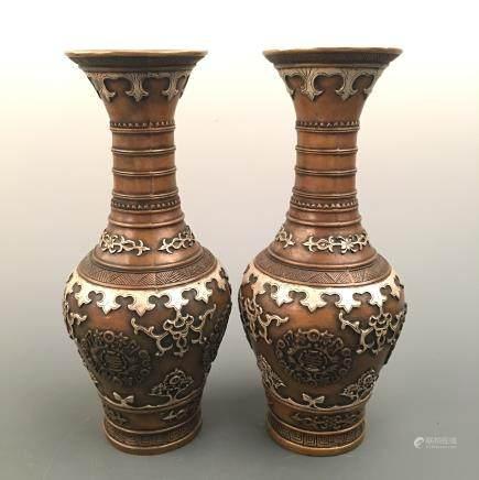 Chinese Bronze Vase Pair, Xuande Mark