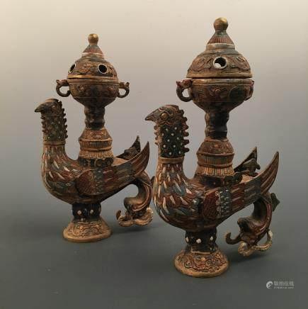Chinese Bronze Vase Pair