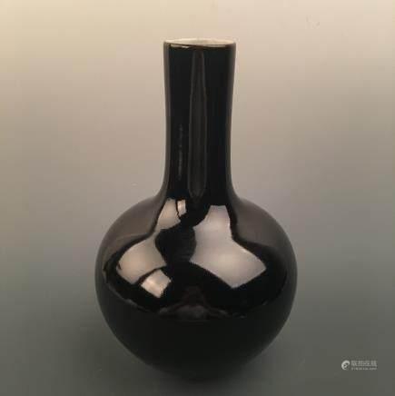 Chinese Black Glazed Bottle Vase, Qianlong Mark