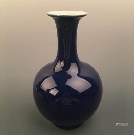 Chinese Blue Glazed Vase, Qianlong Mark