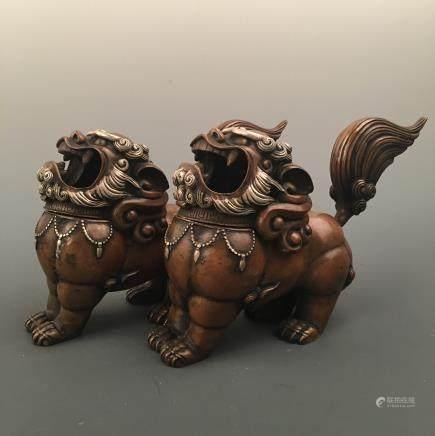 Chinese Bronze Ruishou Figure Pair