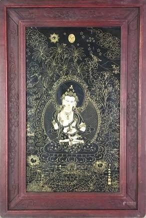 Chinese Framed Porcelain Thangka of Avalokiteśvara