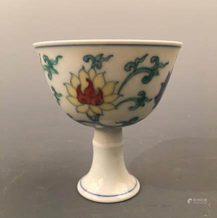 Chinese Doucai 'Lotus' Standing Cup, Chenghua Mark