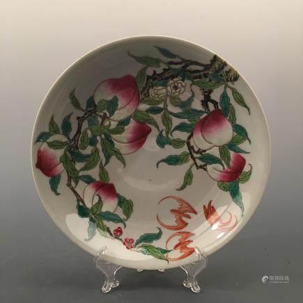 Chinese Famille Rose Peach Plate, Yongzheng Mark
