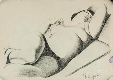 Tamara de Lempicka Polish-French Art Deco Charcoal