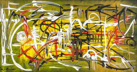 Georges Mathieu French Abstract Oil on Canvas