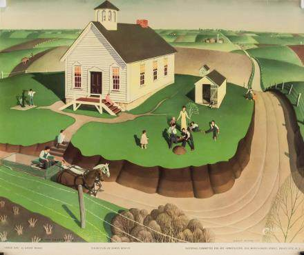 """Grant Wood NYGS Lithograph on Paper """"Arbor Day"""""""
