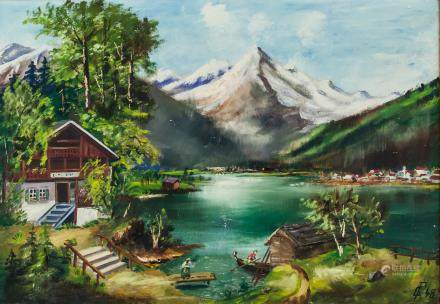 Signed Continental Oil on Board Landscape '48