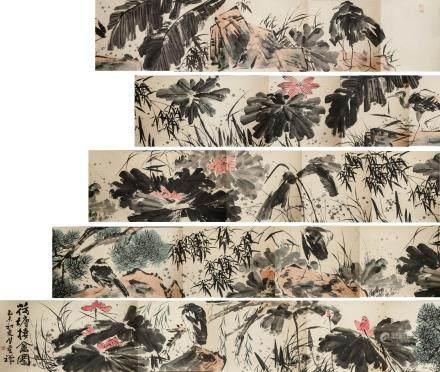 Li Kuchan 1898-1983 Chinese Watercolor Hand Scroll