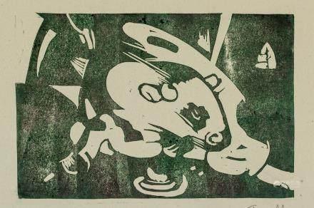 Franc Marc German Cubist Woodcut on Paper