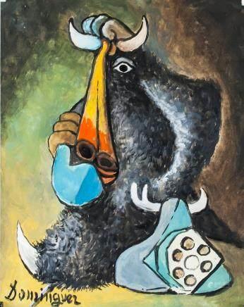 Oscar Dominguez Spanish Surrealist Gouache Paper